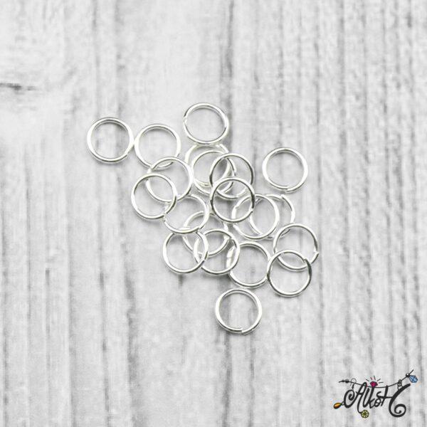 Szerelőkarika szimpla - ezüst 6 mm (20 db) 3
