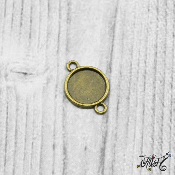 Összekötő medál alap - antik bronz (12 mm) 4