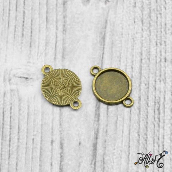 Összekötő medál alap - antik bronz (12 mm) 3