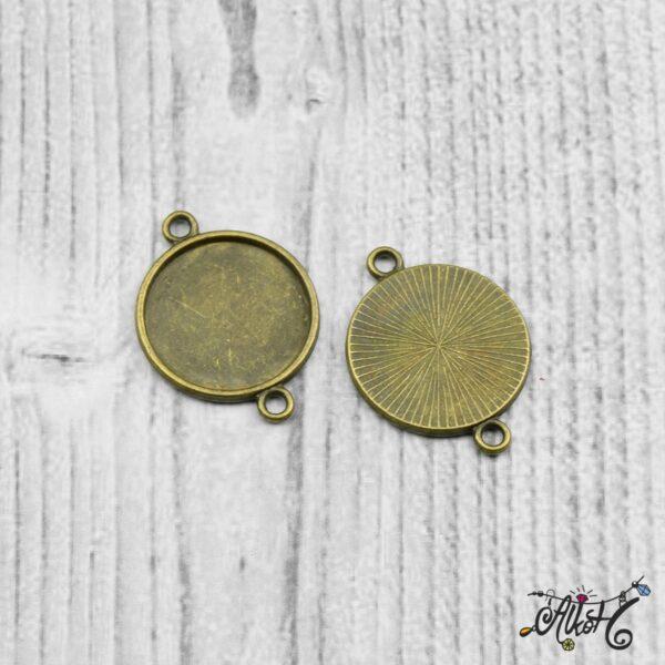Összekötő medál alap - antik bronz (18 mm) 3