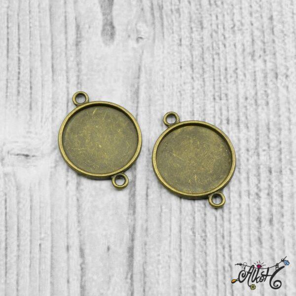 Összekötő medál alap - antik bronz (18 mm) 4