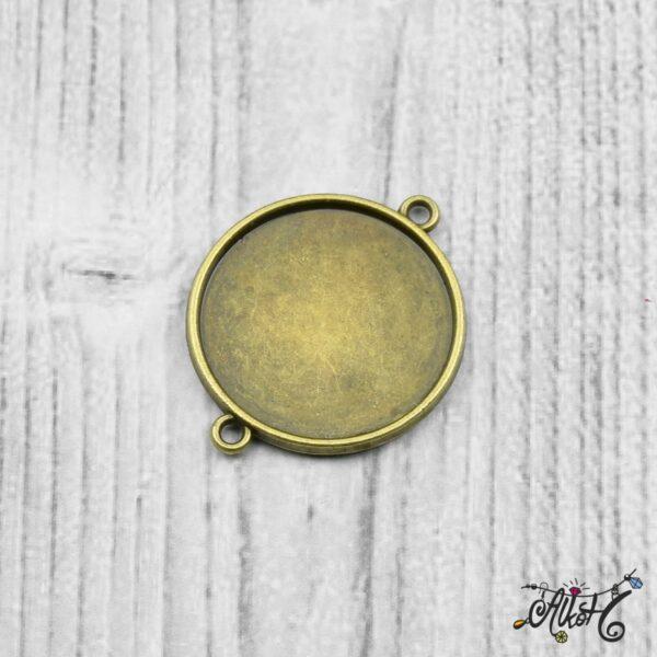 Kétoldalas összekötő medál alap - antik bronz (25 mm) 3