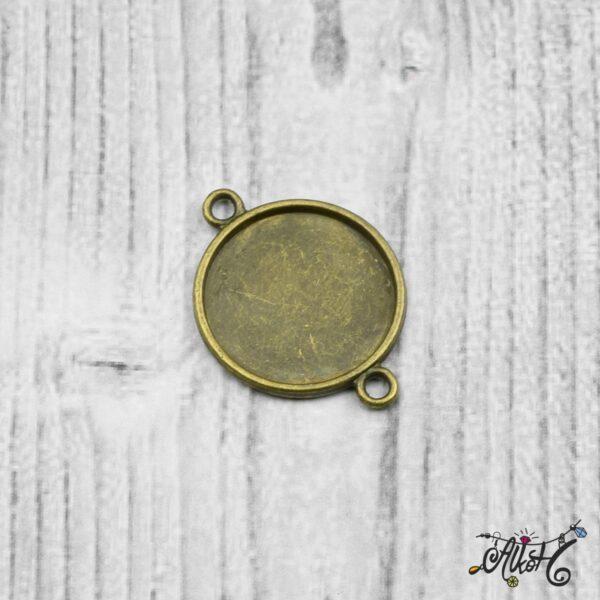 Összekötő medál alap - antik bronz (18 mm) 5