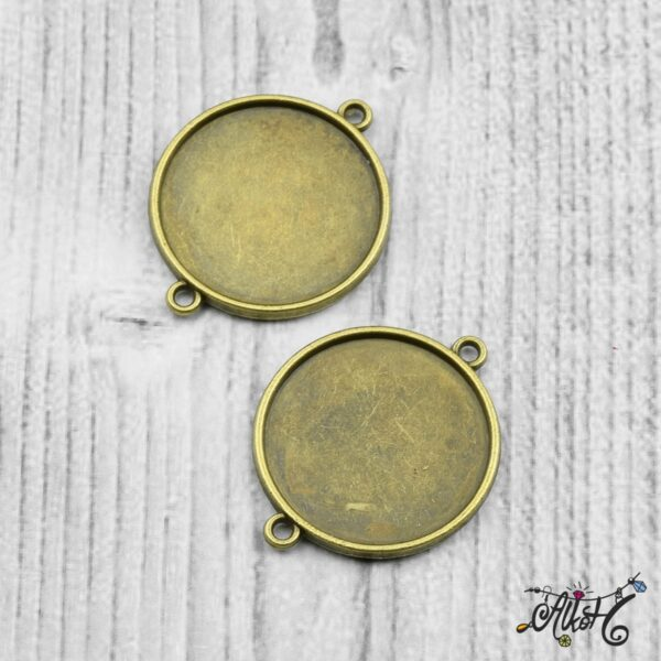 Kétoldalas összekötő medál alap - antik bronz (25 mm) 4