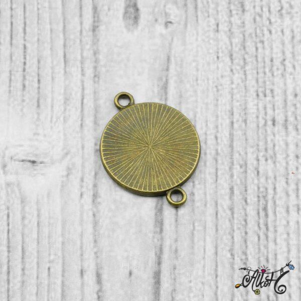 Összekötő medál alap - antik bronz (18 mm) 6