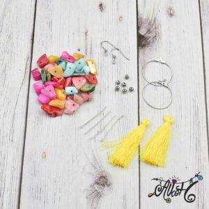 Kagylós, sárga bojtos fülbevaló – alkotói csomag