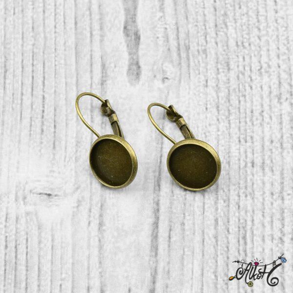 Francia kapcsos fülbevaló alap, antik bronz - 1 pár (belső: 12mm) 4