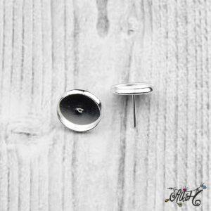 Bedugós fülbevaló alap, ezüst – 1 pár (belső: 12 mm)