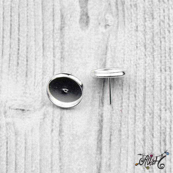 Bedugós fülbevaló alap, ezüst - 1 pár (belső: 12 mm) 3