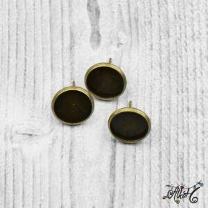 Bedugós fülbevaló alap, antik bronz – 1 pár (belső: 12 mm)