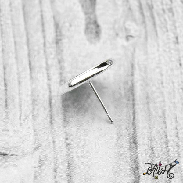Bedugós fülbevaló alap, ezüst - 1 pár (belső: 12 mm) 5