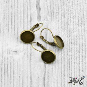 Francia kapcsos fülbevaló alap, antik bronz – 1 pár (belső: 12mm)