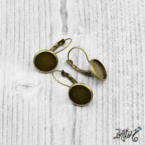 Francia kapcsos fülbevaló alap, antik bronz - 1 pár (belső: 12mm) 3
