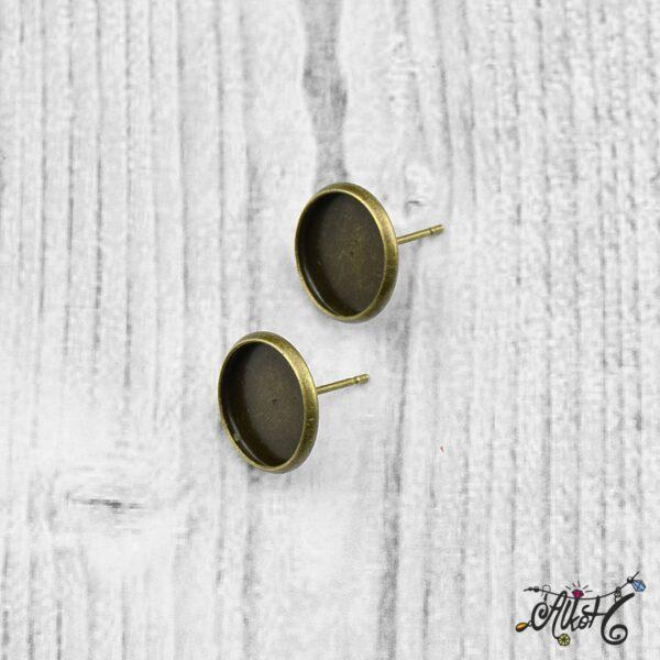 Bedugós fülbevaló alap, antik bronz - 1 pár (belső: 12 mm) 5