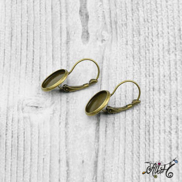 Francia kapcsos fülbevaló alap, antik bronz - 1 pár (belső: 12mm) 5
