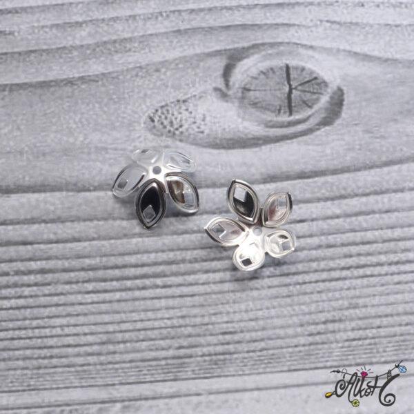 Nagyméretű szirom gyöngykupak - ezüst 4