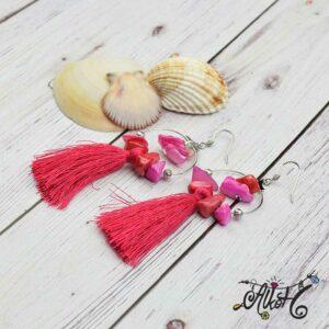 Kagylós, pink bojtos fülbevaló – alkotói csomag