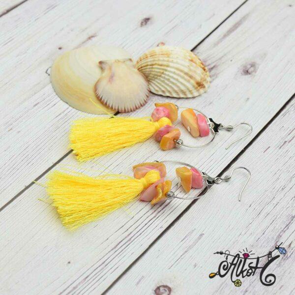 Kagylós, sárga bojtos fülbevaló - alkotói csomag 2