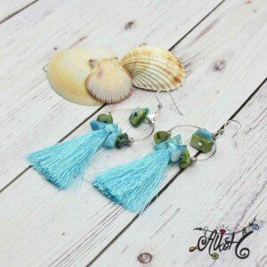Kagylós, türkiz bojtos fülbevaló – alkotói csomag