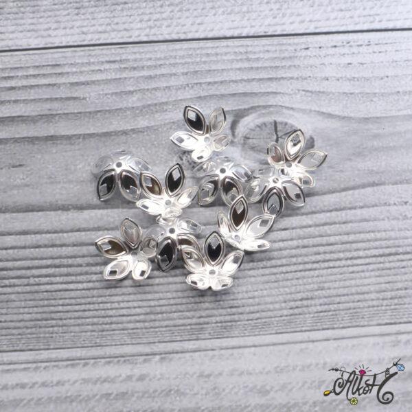 Nagyméretű szirom gyöngykupak - ezüst 3