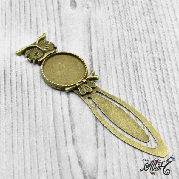 Antik bronz bagoly keretes könyvjelző alap (20mm) 4