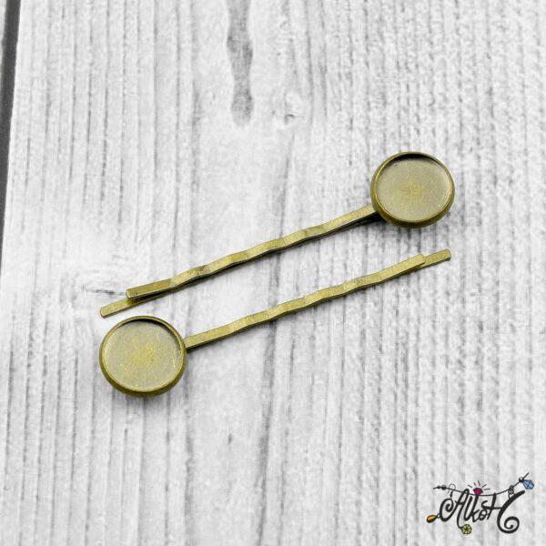 Antik bronz tányéros hullámcsat alap (12mm) 2