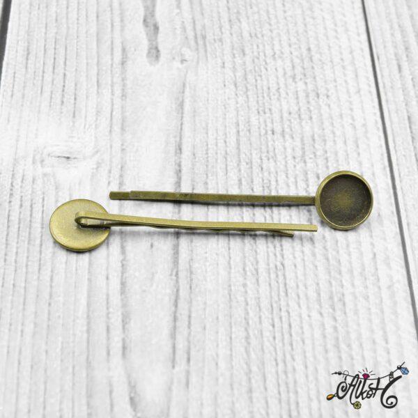 Antik bronz tányéros hullámcsat alap (12mm) 3