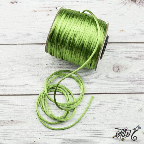 Szatén zsinór - világos zöld, 2mm 3
