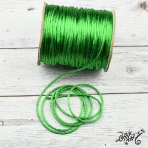 Szatén zsinór – élénk közép zöld, 2mm