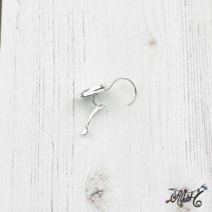 Francia kapcsos fülbevaló alap, ezüst – 1 pár (belső: 12mm)