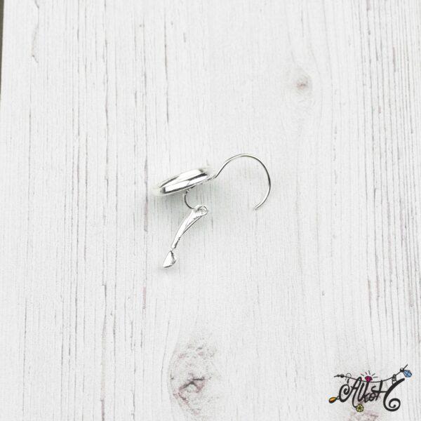 Francia kapcsos fülbevaló alap, ezüst – 1 pár (belső: 12mm) 4