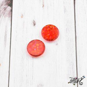 Színezett üveglencse, cabochon – piros (25mm)