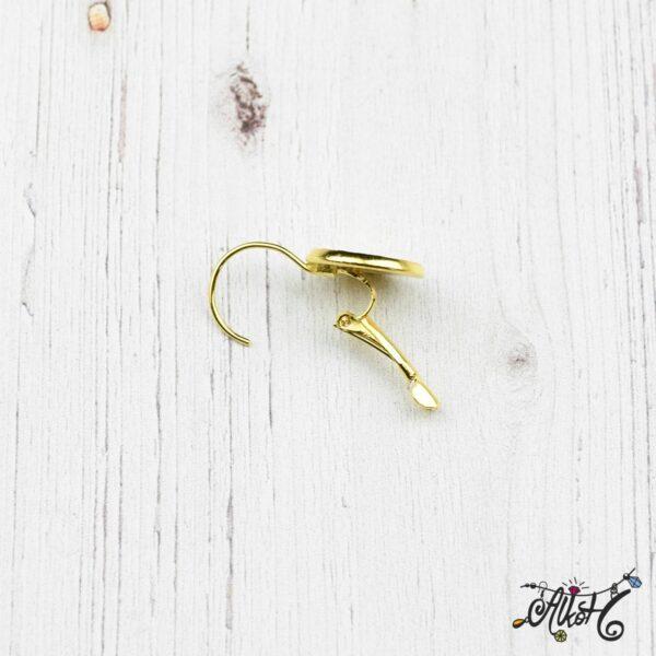 Francia kapcsos fülbevaló alap, arany– 1 pár (belső: 12mm) 3