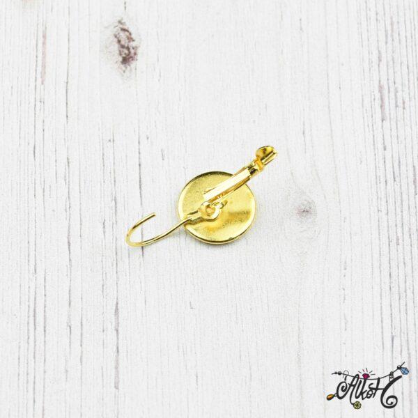 Francia kapcsos fülbevaló alap, arany– 1 pár (belső: 12mm) 4