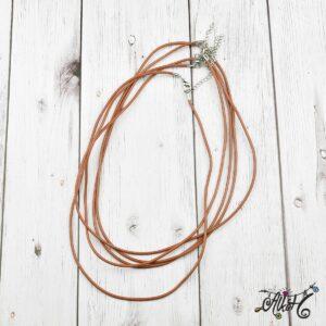 Bőr nyaklánc alap – közép barna