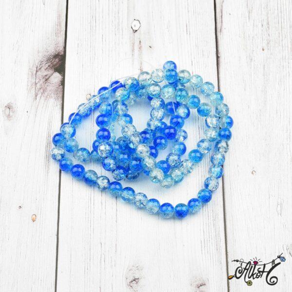 Robbantott gyöngy - átlátszó-kék, 8mm 3