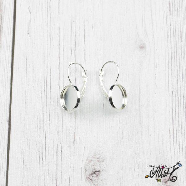 Francia kapcsos fülbevaló alap, ezüst – 1 pár (belső: 12mm) 5