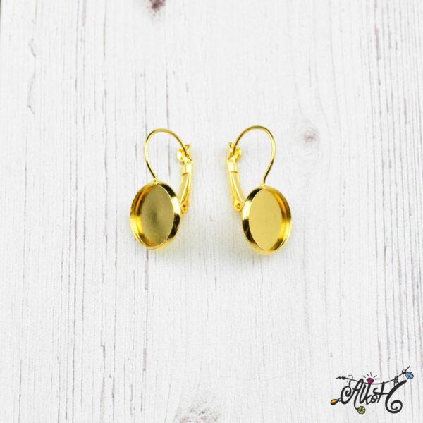 Francia kapcsos fülbevaló alap, arany– 1 pár (belső: 12mm) 5