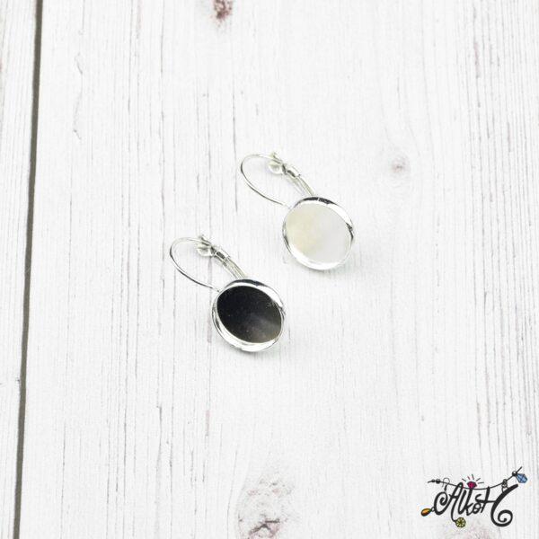 Francia kapcsos fülbevaló alap, ezüst – 1 pár (belső: 12mm) 3