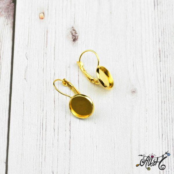 Francia kapcsos fülbevaló alap, arany– 1 pár (belső: 12mm) 2