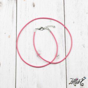 Bőr nyaklánc alap – pink