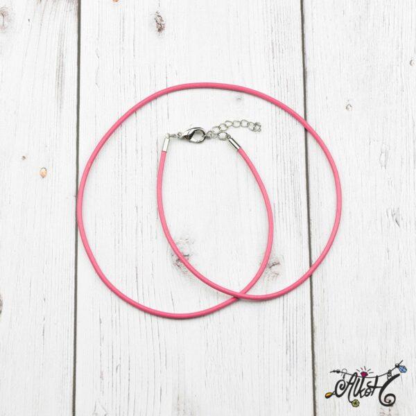 Bőr nyaklánc alap - pink 4