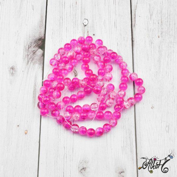 Robbantott gyöngy - átlátszó-pink, 8mm 3