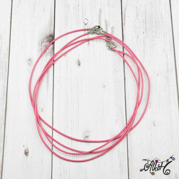 Bőr nyaklánc alap - pink 3