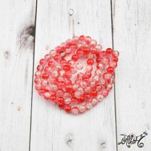Robbantott gyöngy – átlátszó-piros, 8mm