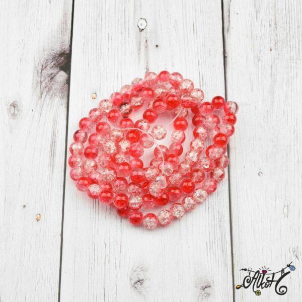 Robbantott gyöngy - átlátszó-piros, 8mm 2