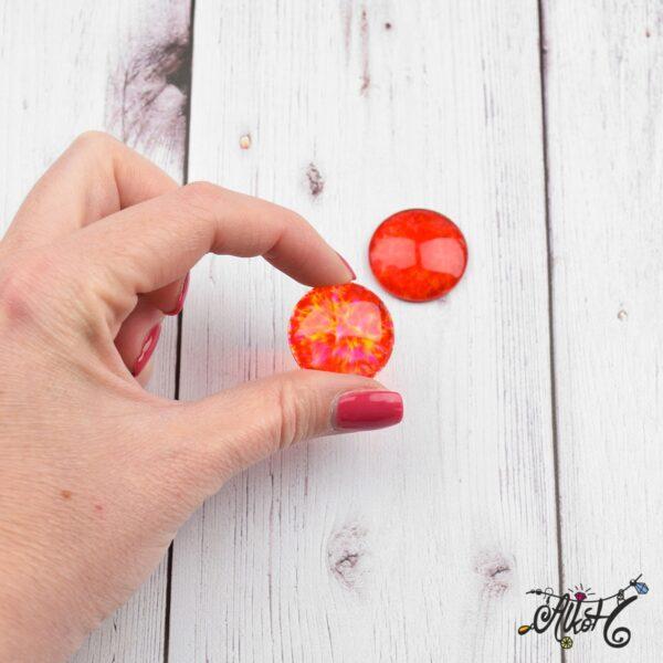 Színezett üveglencse, cabochon - piros (25mm) 5