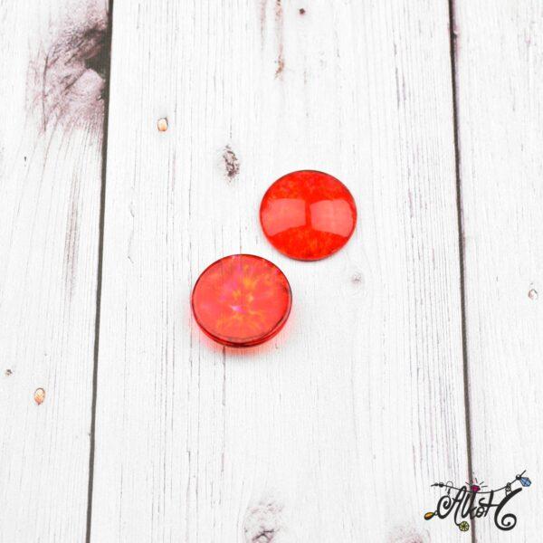 Színezett üveglencse, cabochon - piros (25mm) 3