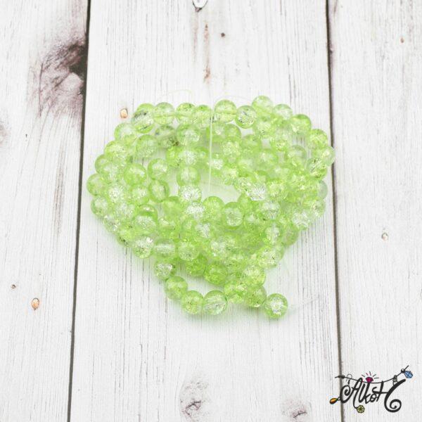 Robbantott gyöngy - átlátszó-zöld, 8mm 3