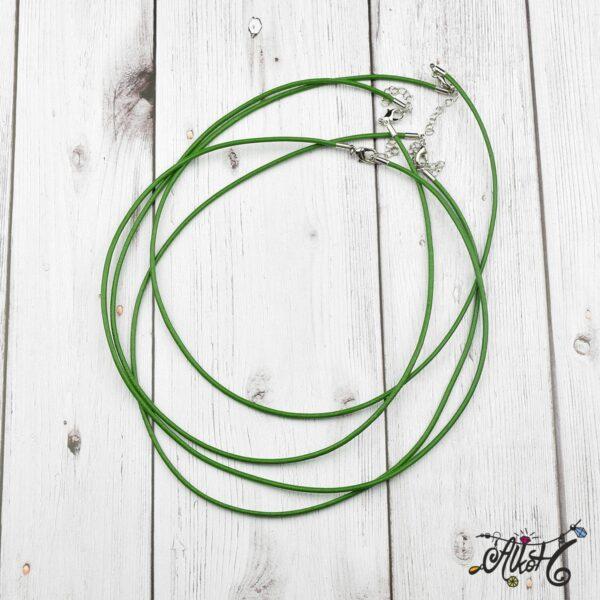 Bőr nyaklánc alap - zöld 3